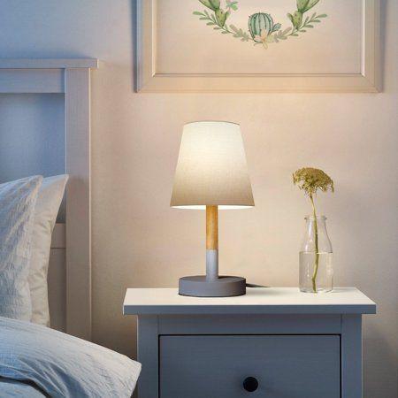 Tomons Modern Style Wood Bedside Lamp Warm White Led White Fabric