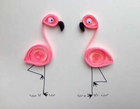 New!!! Pink Flamingos Greeting Card, quilled art, quilled blank card with two flamingos