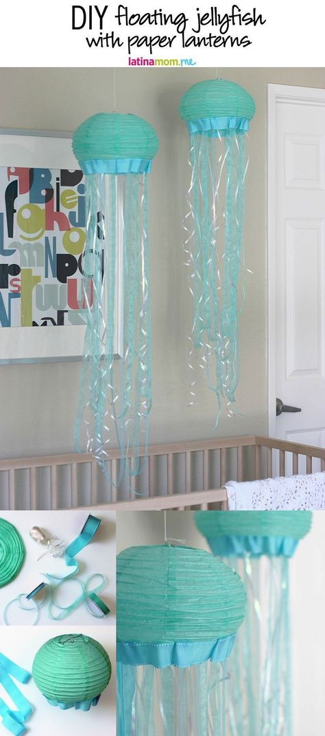 How to make floating jellyfish decorations with paper lanterns. Perfect for hanging in the nursery or as a party decoration for an ocean-life themed party!