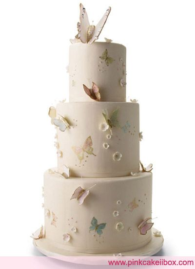 Hand-painted butterfly wedding cake