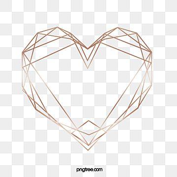 Geometric Heart Elements Of Rose Gold Geometric Heart Gold Clipart Geometric Background