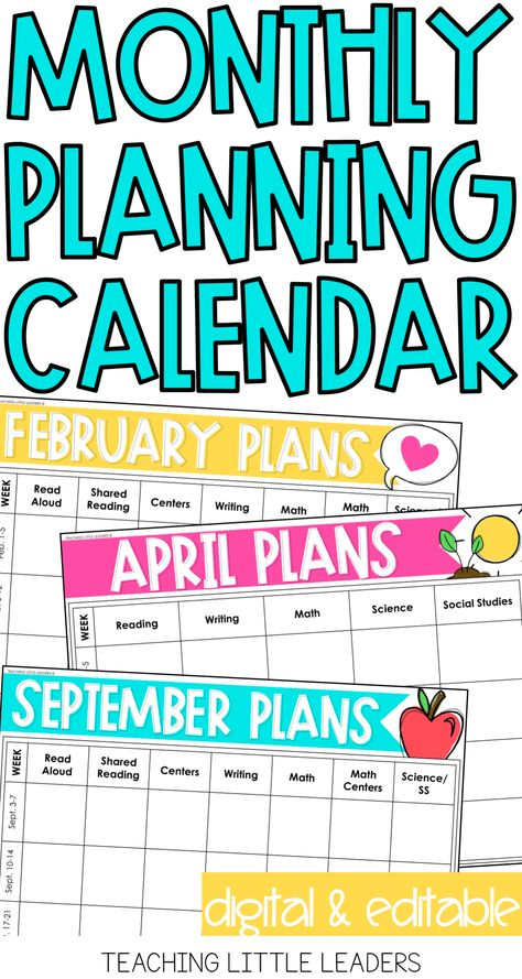 Monthly Planning Calendar Templates {Digital  Editable} Teacher