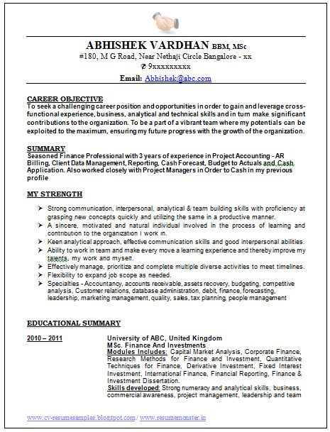 Sample Template Of An Excellent Work Experienced Resume Sample With Great Career Objective Job Profil Best Resume Format Cv Resume Sample Good Resume Examples