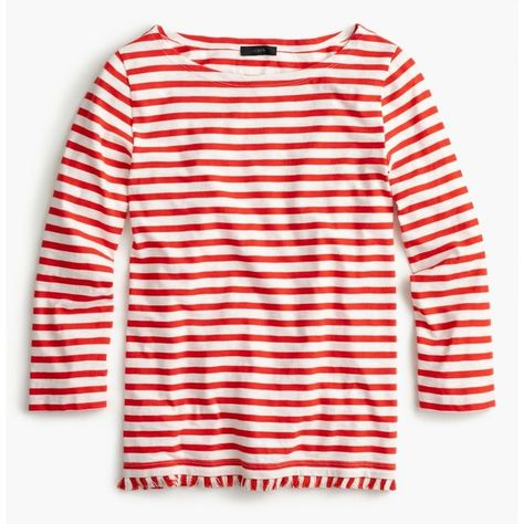 9ab3be0b0e J.Crew Striped Boatneck T-Shirt With Fringe ($52) ❤ liked on Polyvore  featuring tops, t-shirts, boat neck t shirt, striped boatneck tee, cotton  tees, ...