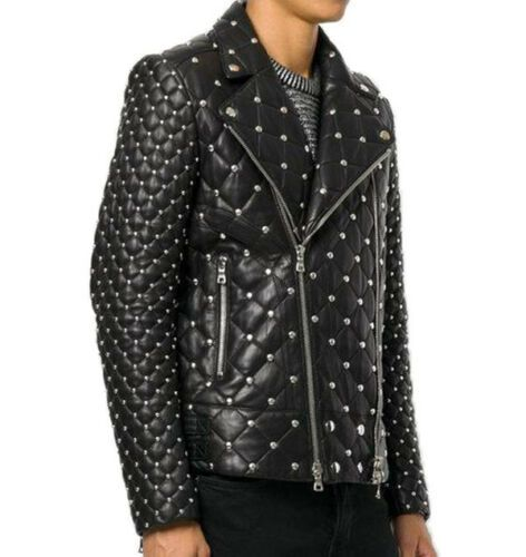 Handmade Studded Quilted Biker jacket Men Designer Fashion Leather Jacket