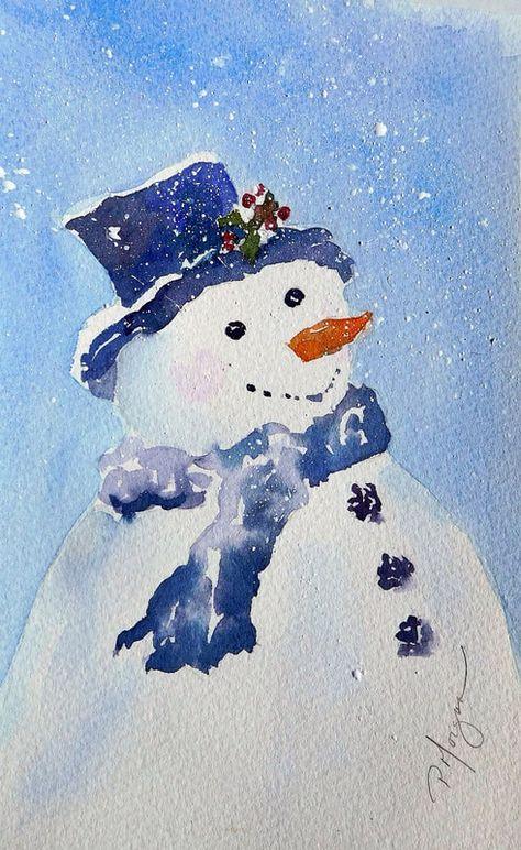 Snowman1 Orig Jpg 491 800 Pixels Cartes Aquarelle De Noel