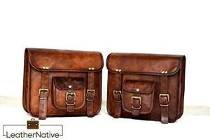 2x Leather Motorcycle Saddlebags Leather Motorcycle Saddlebags Leather Rucksack Vintage Real Leather Bags