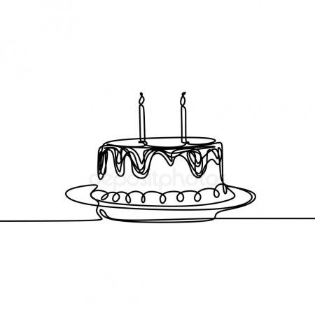 Fantastic Continuous Line Drawing Birthday Cake With Candle Symbol Of Personalised Birthday Cards Vishlily Jamesorg