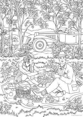 Picnic Gatsby Style Adult Coloring Book Pages Printable Adult