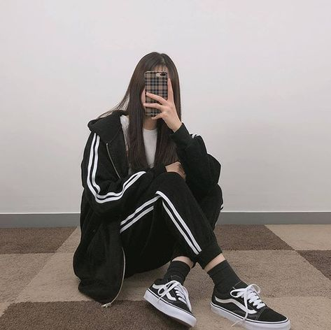 black hoodie sweatpants trackies trracksuit bottoms white stripes vans korean k fashion ulzzang 얼짱 comfy casual outfits clothes spring summer autumn winter school street everyday aesthetic soft minimalistic kawaii cute g e o r g i a n a : c l o t h e s