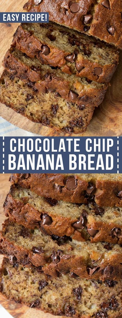 Easy Chocolate Chip Banana Bread is a classic recipe that yields the best banana bread. And it's loaded with chocolate chips to make this bread extra special. This recipe requires only 15 minutes of prep! Easy Bread Recipes, Banana Bread Recipes, Recipes With Chocolate Chips, Keto Recipes, Breakfast Bread Recipes, Skillet Recipes, Cake Recipes, Köstliche Desserts, Delicious Desserts