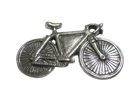 Silver Toned Textured Penny Farthing Retro Bicycle Tie Tack