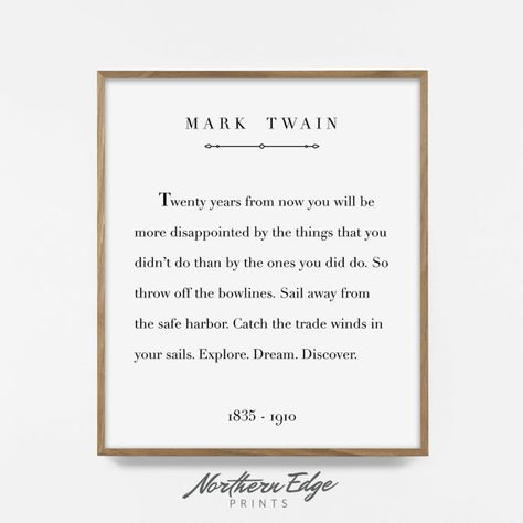 mark twain print, printable quote, inspirational quote print, printable words, adventure art, sail q