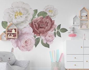 Floral Peel And Stick Wallpaper Floral Wallpaper For Nursery Etsy Kids Wall Decals Kids Room Wall Decor Nursery Wall Decals
