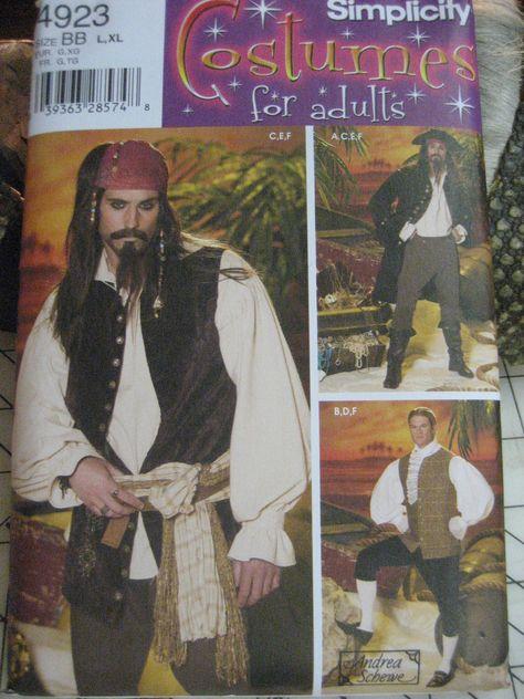Simplicity 4923 Adult xs to M Reenactment Pirates Costume