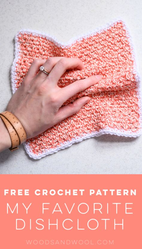 Try out this fun and easy dishcloth pattern. It's the perfect quick crochet project for crocheters of all levels! projects Free Crochet Pattern: My Favorite Dishcloth Diy Haken, Knit Or Crochet, Dishcloth Crochet, Crochet Dishcloths Free Patterns, Crochet Wash Cloths, Learn How To Crochet, Wash Cloth Crochet Pattern, Things To Crochet, Quick Crochet Gifts