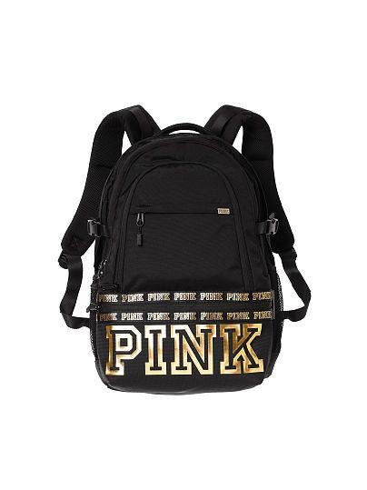 185de5462f6f2 Black and gold Victoria's Secret PINK backpack ❤️ | PINK | Gold ...