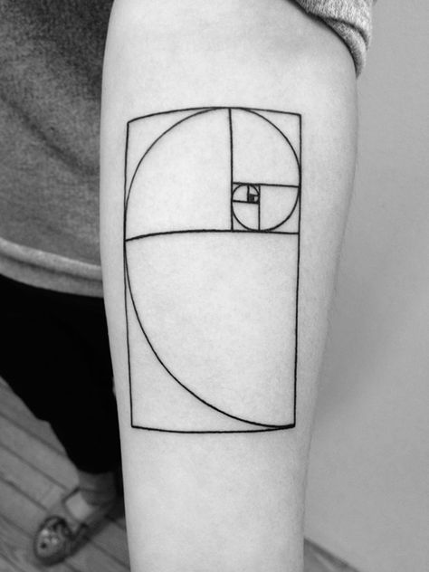 Golden ratio tattoo. This pattern is found throughout the universe, from seashells to star formations.