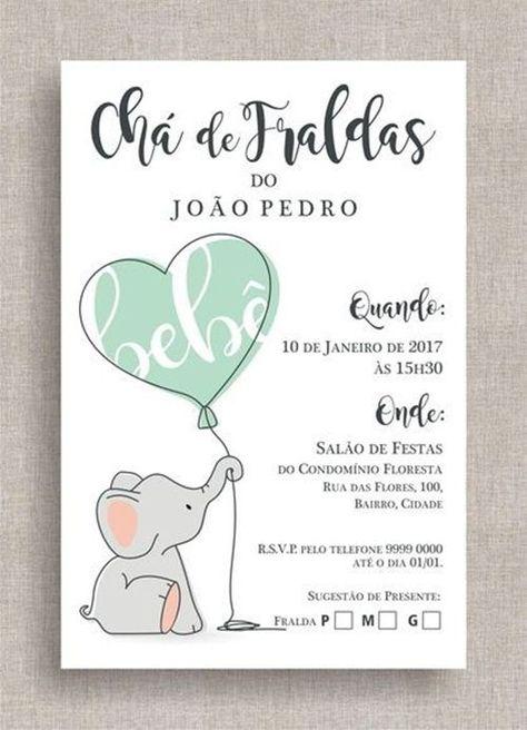 35 Modelos De Convite De Elefantinho Para Cha De Bebe Com Imagens
