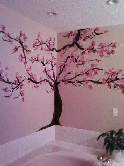 34 Best Ideas For Wall Murals Bathroom Cherry Blossoms Wall Painting Wall Paint Designs Wall Painting Decor