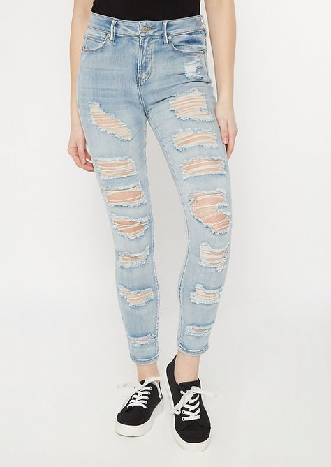 Photo of Light Wash Distressed Roll Up Ankle Jeggings