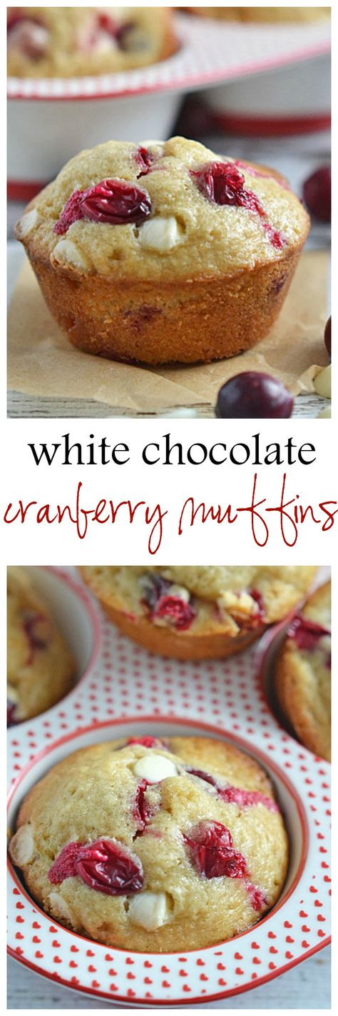 Sweet white chocolate chips pair perfectly with the tartness of the berries in these White Chocolate Cranberry Muffins.