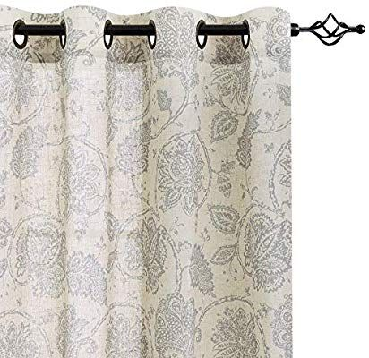 """Classic Traditional Gray Jacobean Floral Scroll Curtains Panels Drapes Set 84/"""""""