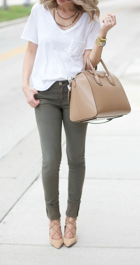 17 army green pants, a white tee, a