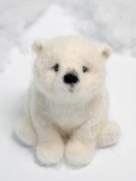Polar Bear Wool Art Polar Bear Figurine Soft Sculpture Felted Wool Bear Needle Felted Polar Bear Needle Felting