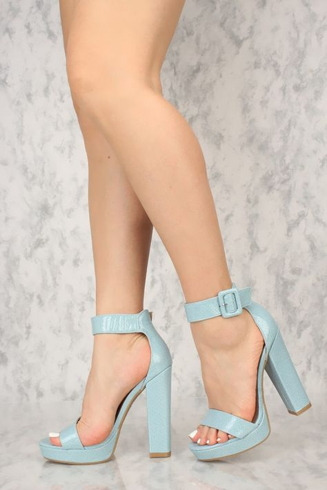 dbf404491de Sexy Light Blue Ankle Strap Platform Chunky High Heels Faux Leather ...