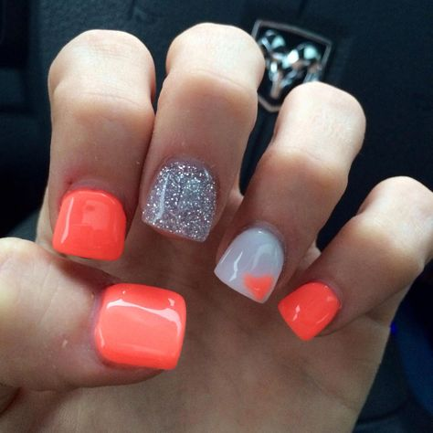 #acrylicnailideas #glitter #coral #nails #love #andCoral and glitter nails LOVE