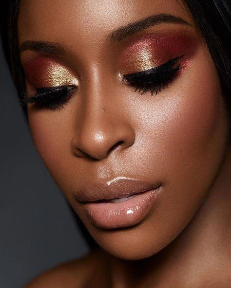 PAT McGRATH LABS | Mesmerising eye make up look on @jackieainastarring featuring FETISHEYES Mascara and MOTHERSHIP V: Bronze Seduction Eye Palette shades 'BLITZ FLAME' and 'BRONZE BLAZE'⚡⚡Makeup by : @rennyvasquez ⚡⚡SHOP THE LOOK at PATMcGRATH.COM | Bronze eye #makeup | Metallic eye makeup look | Makeup for dark + brown skintones