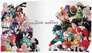 My Hero Academia Heroes Vs Villains Poster By Debneel My Hero Hero My Hero Academia