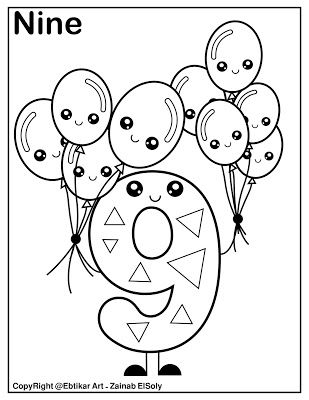 Number 9 Holding Balloons Coloring Page Matematik Anaokulu