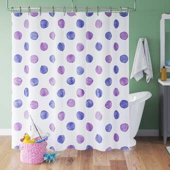 Purple Shower Curtain Watercolor Polka Dots Print for Bathroom