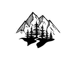 45++ Mountain lake clipart black and white info