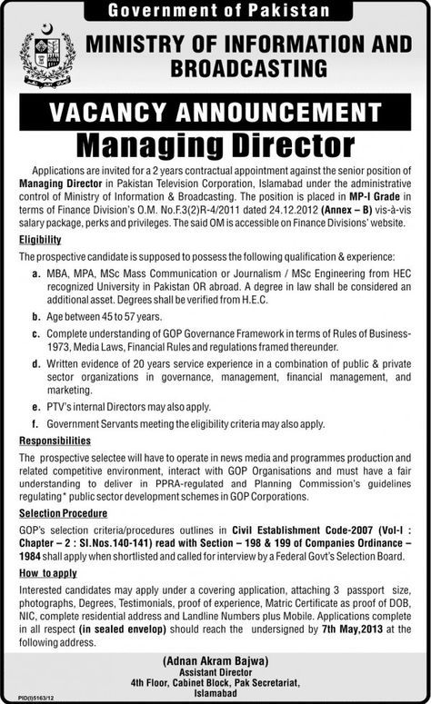 Managing Director Job In Ministry Of Information  Broadcasting