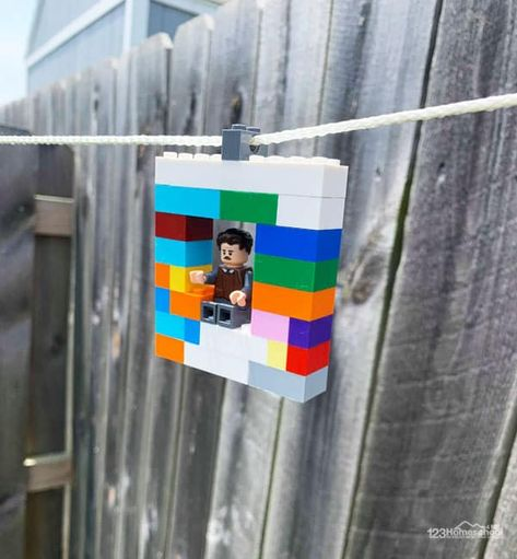 Add this fun and easy DIY Zipline that is made out of Lego bricks toyour summer bucket list! This ativity is a great STEM project for kids of all ages! Lego Craft, Legos, Stem Projects For Kids, Lego Projects, Diy Zipline, Lego Website, Lego Challenge, Lego Activities, Toys