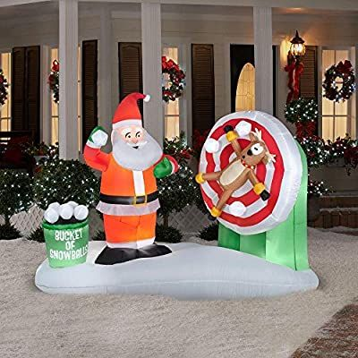 Inflatable animated Christmas decorations with lights