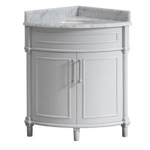 Home Decorators Collection Aberdeen 60 In W Open Shelf Double Vanity In White With Carrara Marble Top With White Sinks 9784600410 The Home Depot Corner Vanity White Sink Vanity