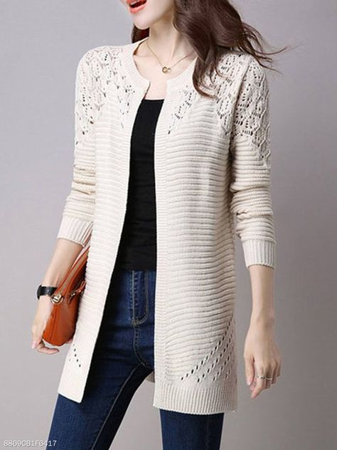 Women's Clothing,Outerwear,Collarless  Snap Front  Crochet  Hollow Out Trench Coats
