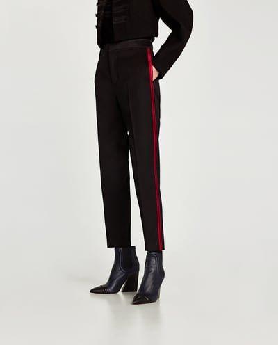 Hose Mit Seitlichem Streifen Alles Anzeigen Hosen Damen Sale Zara Osterreich Side Stripe Trousers Black Pants Outfit Black Trousers Women