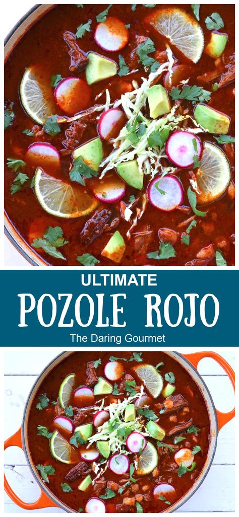 """One of the most iconic Mexican dishes, this """"ultimate"""" Pozole Rojo recipe is PACKED with deliciously bold and robust flavors that will absolutely WOW your taste buds!"""
