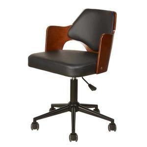 Kiruna Chaise De Bureau En Simili Noir Accoudoirs Bois Style Contemporain L 49 X P 51 Cm Chaise Bureau Fauteuil Bureau Chaise De Bureau Vintage