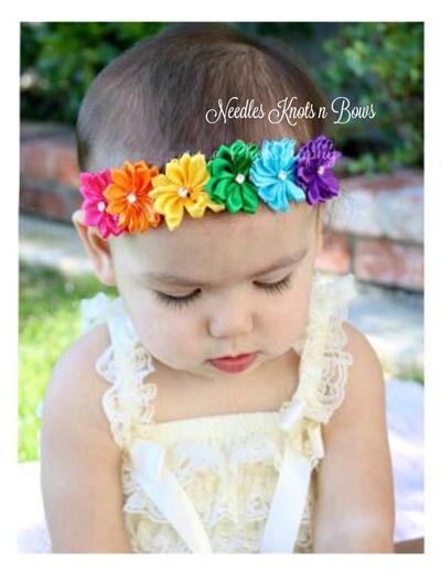 Toddler Headband Girls Headband Baby Girls Hair Bow Baby Headband Petite White Shabby Chic Flower Yellow and White Polkadot Headband