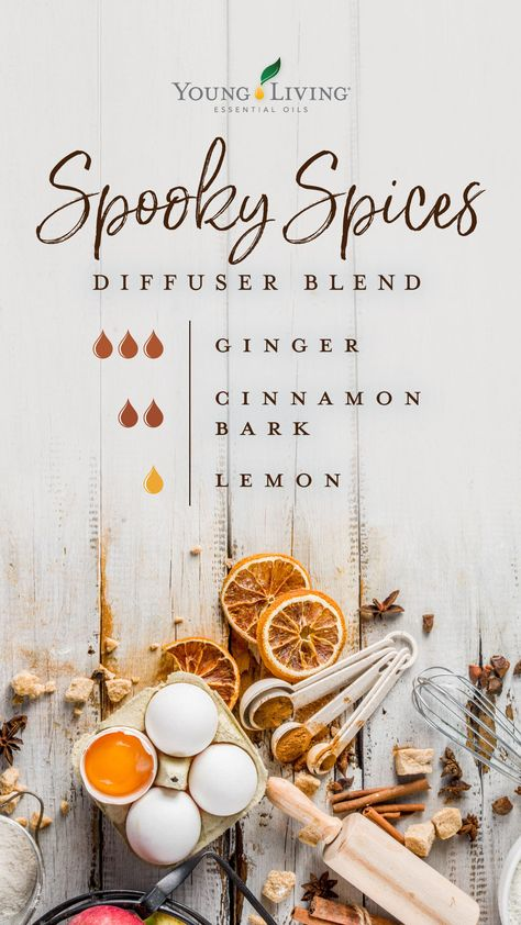 Lift up your spirits with this holiday Spooky Spices diffuser blend by combing the warm scents of Cinnamon Bark and Ginger essential oils with the bright and joyful aroma of Lemon. oil blends for halloween Ginger Essential Oil Fall Essential Oils, Ginger Essential Oil, Essential Oil Diffuser Blends, Essential Oil Uses, Young Living Essential Oils, Cinnamon Bark Essential Oil, Diy Cosmetic, Essential Oil Combinations, Aromatherapy Oils