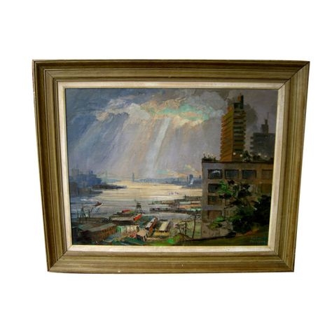 Nice oil on canvas by noted Florida artist Ronni Pastorini | From a unique collection of antique and modern paintings at http://www.1stdibs.com/furniture/wall-decorations/paintings/
