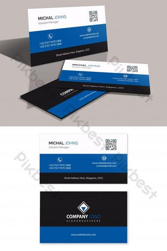 Corporate Blue Black White Business Card Ai Free Download Pikbest White Business Card Blue Business Card Business Card Material