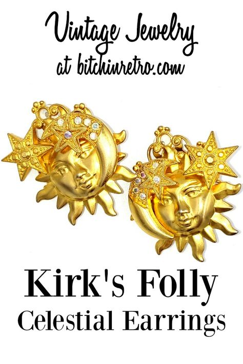 Vintage Kirk's Folly earrings with a whimsical celestial theme. The aurora borealis finish on the rhinestones just adds to the playfulness.  #vintage #vintagejewelry #kirksfolly #celestial #moon #stars #giftsforher #bitchinretro #earrings #gifts