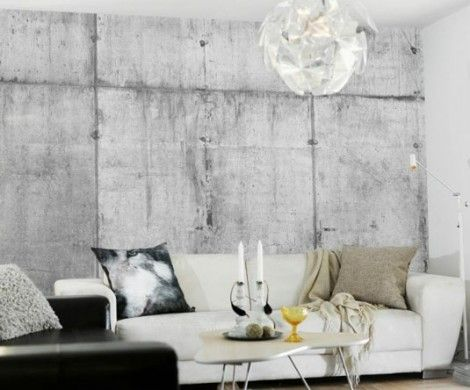 Wall Paint With Concrete Look For An Industrial Look Living Room Designs Room Design Concrete Wallpaper